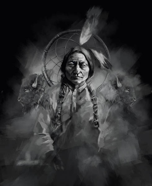 Native Painting - Native American Chief-sitting Bull 3 by Bekim M