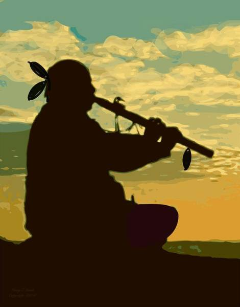 Wall Art - Painting - Native American Flute Player  by Larry Lamb
