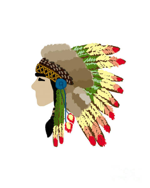 Painting - Native American Indian Chief Headdress by Rasirote Buakeeree