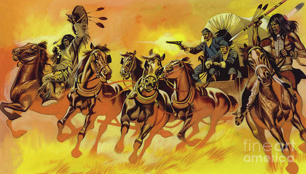 Wall Art - Painting - Native American Indians Attacking Wagon Belonging To Settlers by Ron Embleton