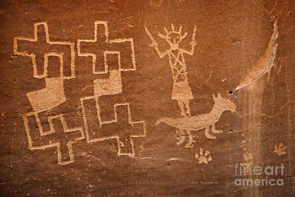 Wall Art - Photograph - Native American Petroglyph On Sandstone by John Stephens
