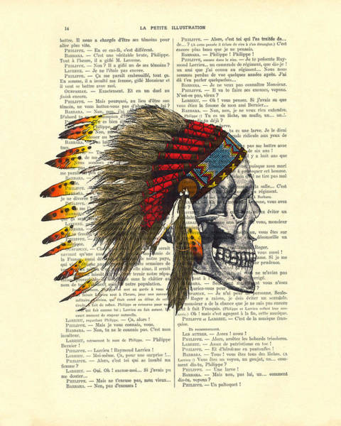 Landmarks Digital Art - Native American Skull by Madame Memento