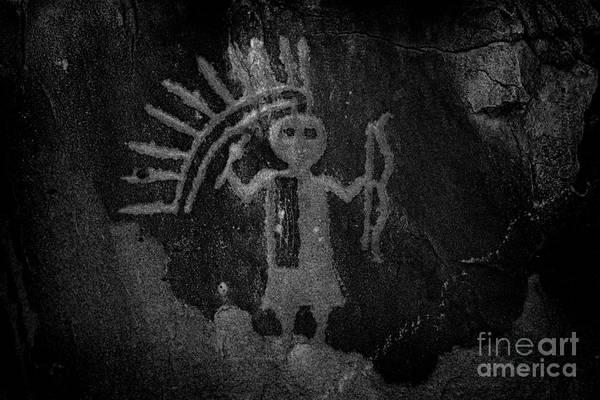 Wall Art - Photograph - Native American Warrior Petroglyph On Sandstone by John Stephens