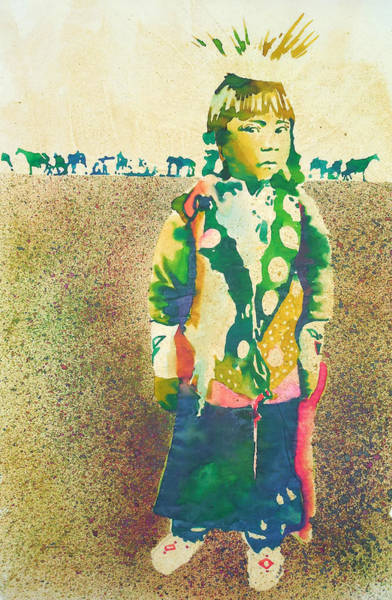Complimentary Colors Mixed Media - Native American Youth by Harley Dean Harp