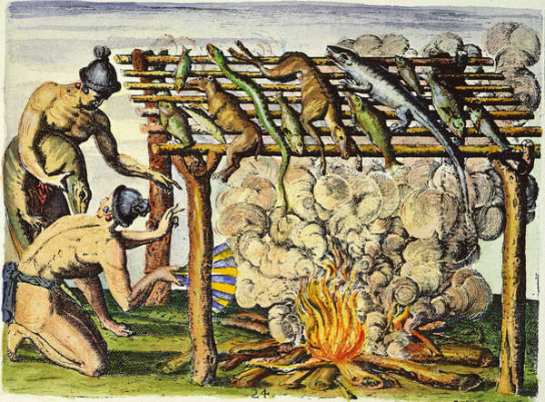 Barbecue Photograph - Native Americans: Barbecue, 1591 by Granger