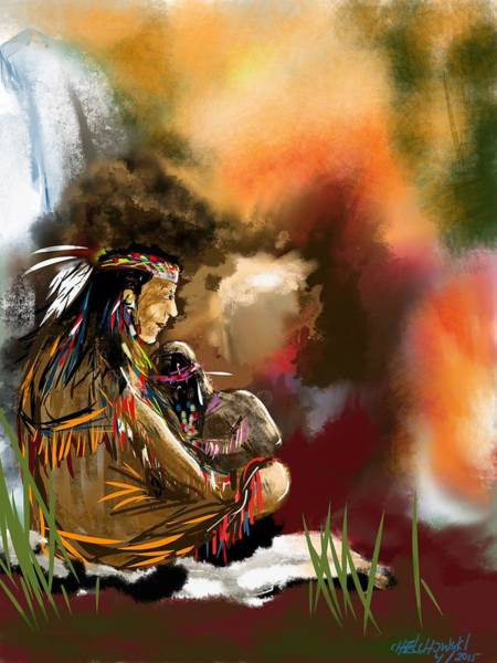 Painting - Native Care by Miroslaw  Chelchowski