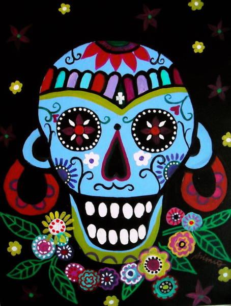 Harana Wall Art - Painting - Native Dia De Los Muertos Skull by Pristine Cartera Turkus