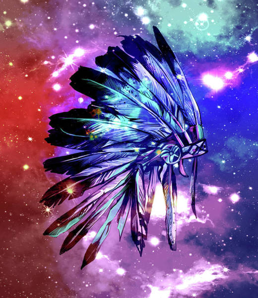 Feather Digital Art - Native Headdress Space by Bekim Art