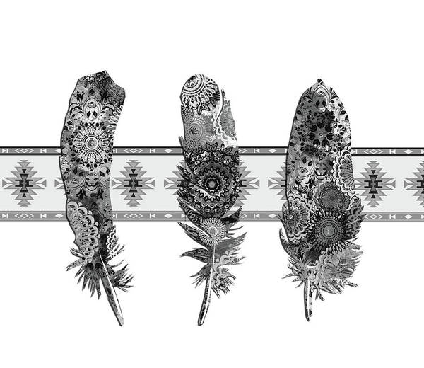 Feather Digital Art - Native Mandala Feathers 5 by Bekim Art