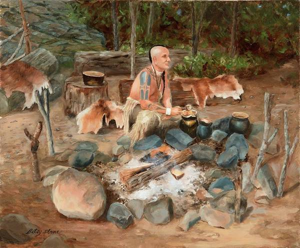 Painting - Native Wampanoag Campsite by Alice Betsy Stone