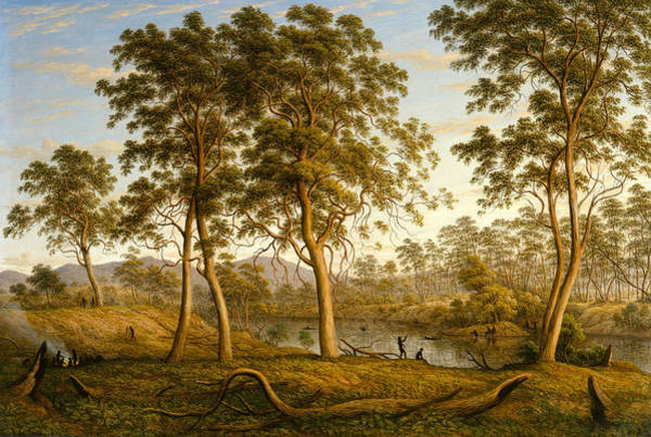 Aborigine Painting - Natives On The Ouse River, Van Diemen's Land by John Glover