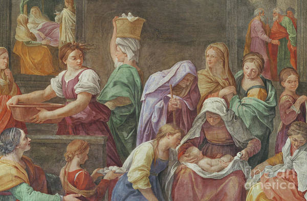 Mural Painting - Nativity Of The Blessed Virgin Mary by Guido Reni