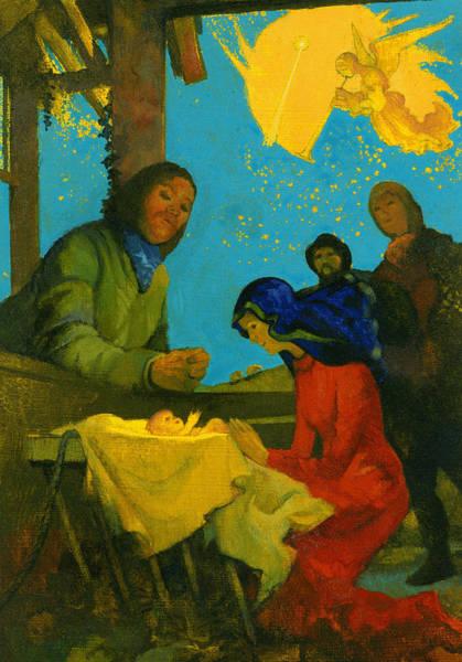 King George Wall Art - Painting - Nativity Scene by George Adamson
