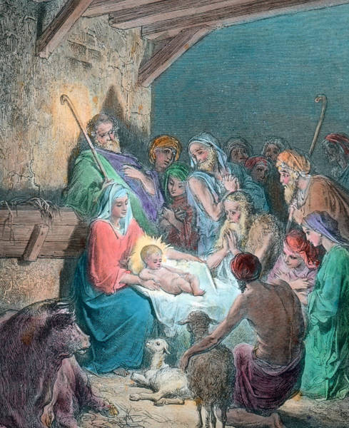 Bethlehem Drawing - Nativity Scene by Gustave Dore