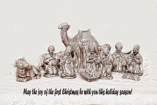 Sketch Holiday Photograph - Nativity Scene In Sepia by Linda Phelps