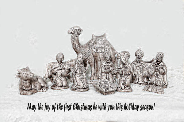 Sketch Holiday Photograph - Nativity Scenne Sketch by Linda Phelps