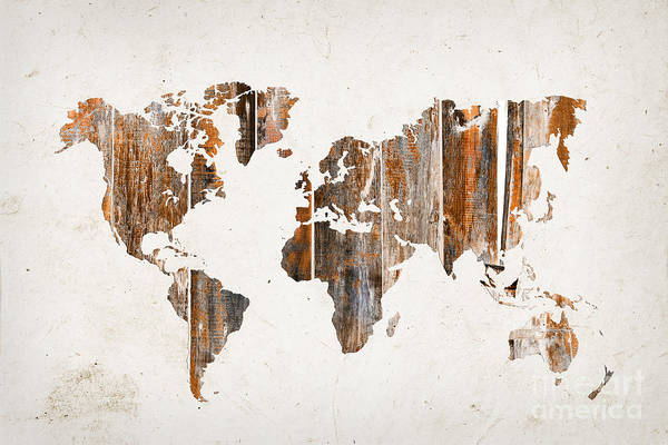 Wooden Digital Art - Natural Planks World Map by Delphimages Photo Creations