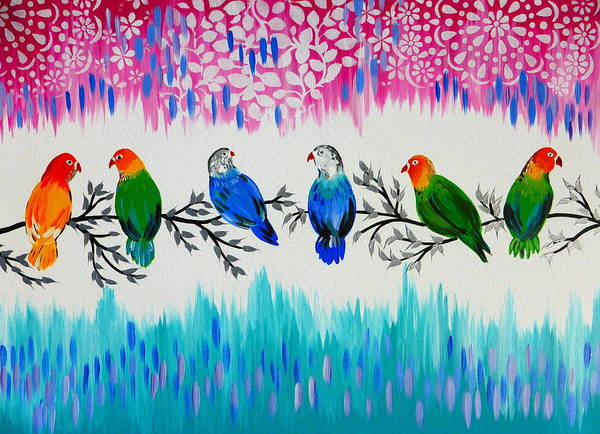 Lovebird Painting - Nature's Jewels by Cathy Jacobs