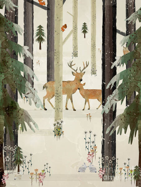 Stag Wall Art - Painting - Natures Way The Deer by Bri Buckley