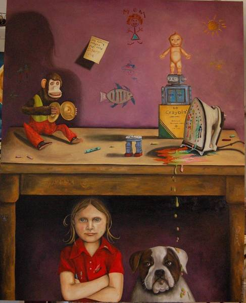 Wall Art - Painting - Naughty Child by Leah Saulnier The Painting Maniac