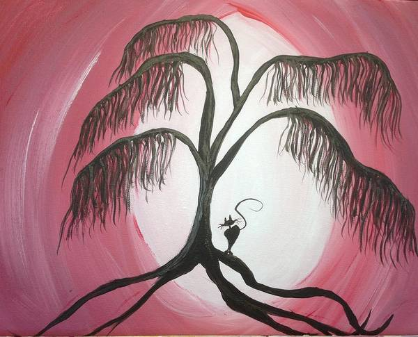 Tree Painting - Naughty Kitty by Roxy Rich