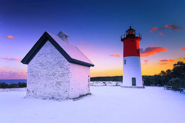 Wall Art - Photograph - Nauset Lighthouse Sunset,  First Snow by Dapixara Art