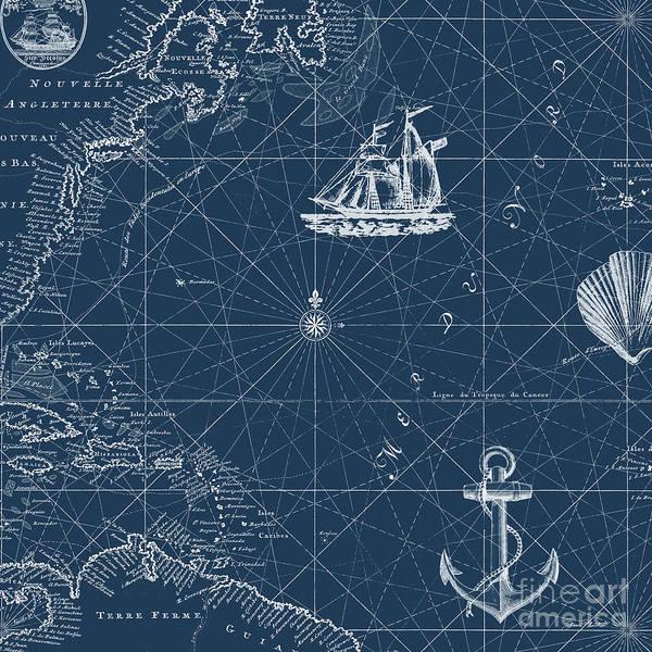 Coastal Digital Art - Nautical Blues-d by Jean Plout