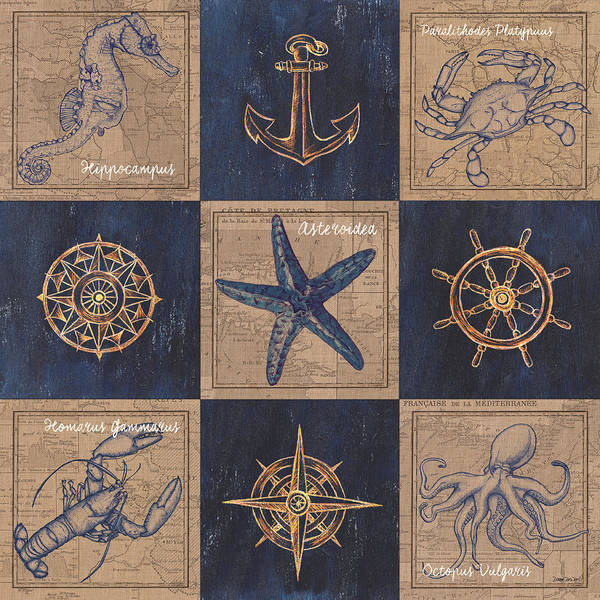 Wall Art - Mixed Media - Nautical Burlap by Debbie DeWitt