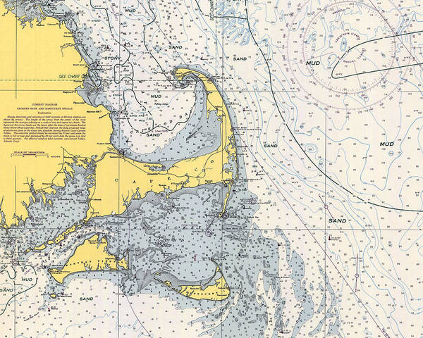 Drawing - Vintage Cape Cod Nautical Chart 1945h by Paul and Janice Russell