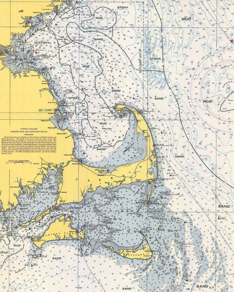 Photograph - Vintage Cape Cod Nautical Chart 1945v by Paul and Janice Russell