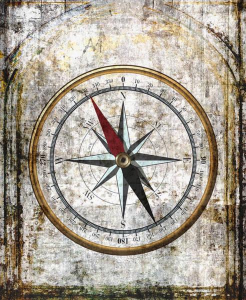 Wall Art - Digital Art - Nautical Compass Rose by Daniel Hagerman