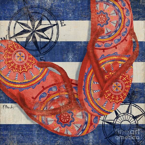 Flops Wall Art - Painting - Nautical Flip Flops I by Paul Brent