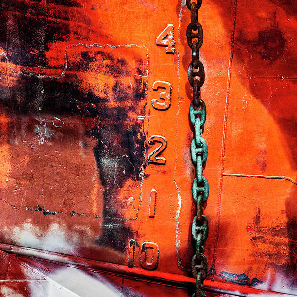 Rusty Chain Wall Art - Mixed Media - Nautical Industrial Art Again Square by Carol Leigh