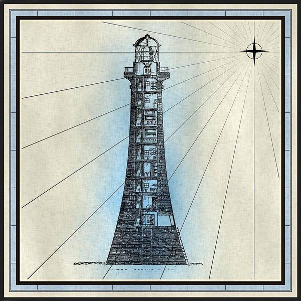 Mixed Media - Nautical Lighthouse Print by Nautical Scenes