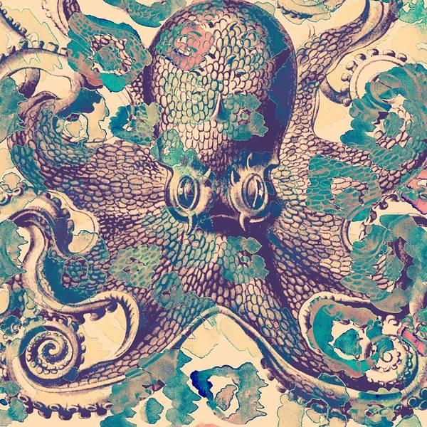 Tropical Digital Art - Nautical Octopus by Brandi Fitzgerald
