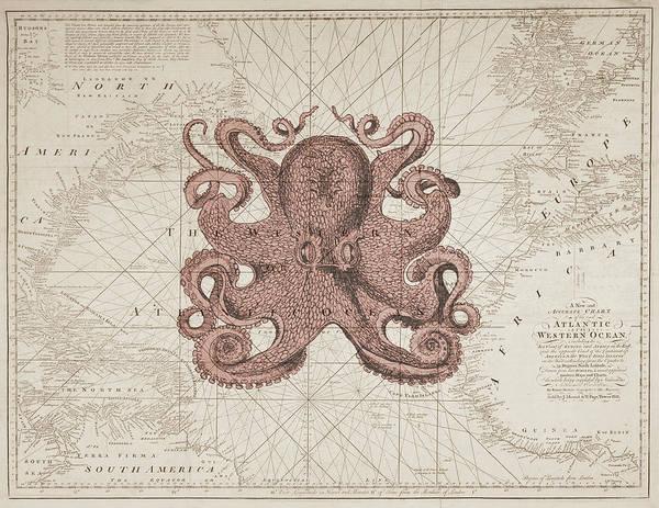 Beach Cottage Wall Art - Digital Art - Nautical Octopus Sea Chart by Erin Cadigan