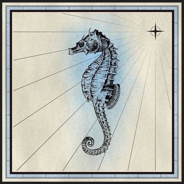 Mixed Media - Nautical Seahorse Print by Nautical Scenes