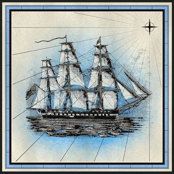 Mixed Media - Nautical Ship Print by Nautical Scenes