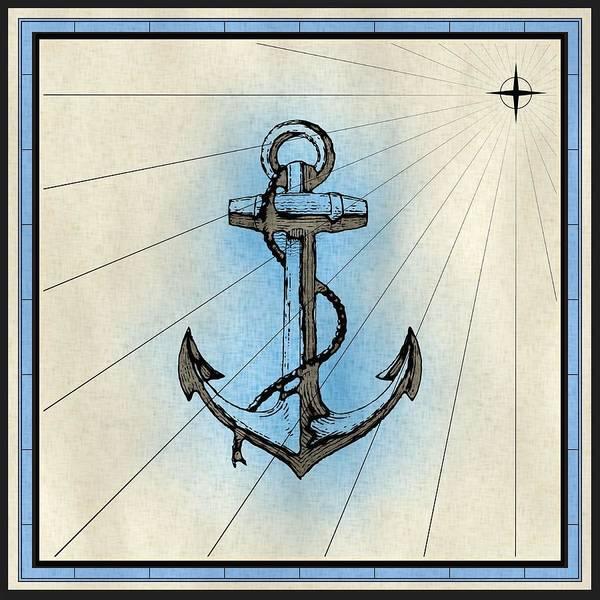Mixed Media - Nautical Ships Anchor Print by Nautical Scenes