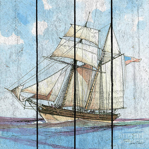 Wall Art - Painting - Nautical Ships-b by Jean Plout