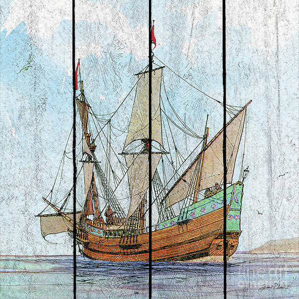 Wall Art - Painting - Nautical Ships-c by Jean Plout