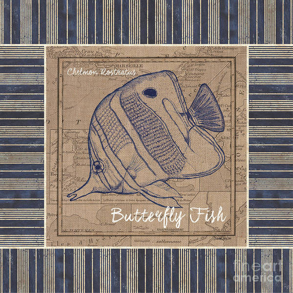 Wall Art - Painting - Nautical Stripes Butterfly Fish by Debbie DeWitt