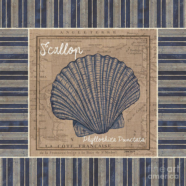 Wall Art - Painting - Nautical Stripes Scallop by Debbie DeWitt