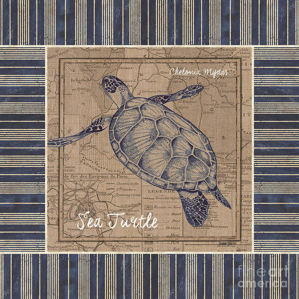 Wall Art - Painting - Nautical Stripes Sea Turtle by Debbie DeWitt