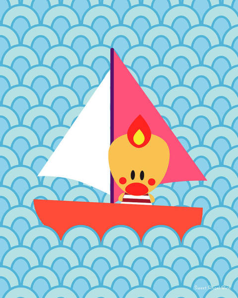 Digital Art - Nautical Wall Art - Sweet Angel Bird In A Cute Ship Art Print by Olga Davydova