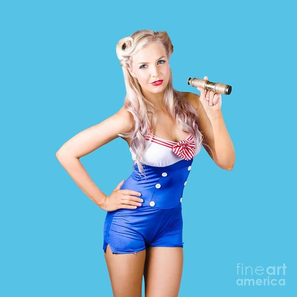 Blue Hair Photograph - Nautical Woman In Sailor Outfit by Jorgo Photography - Wall Art Gallery