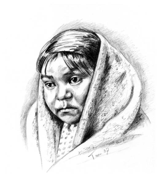 Drawing - Navajo Child by Toon De Zwart