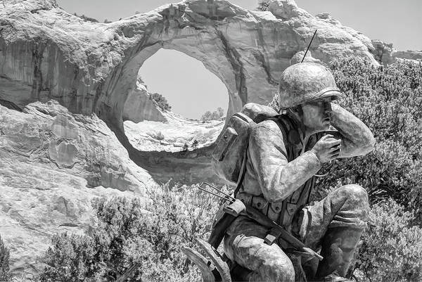 Code Talkers Photograph - Navajo Code Talker Monument - Window Rock Arizona - Black And White by Gregory Ballos