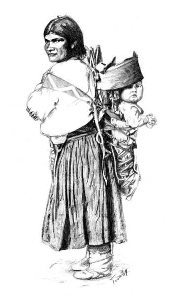 Drawing - Navajo Woman With Child by Toon De Zwart