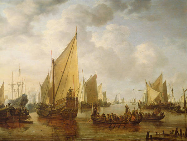 Wall Art - Painting - Naval Review by Simon Jacobsz Vlieger
